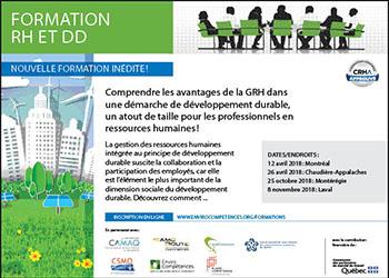 Formation innovatrice et unique en son genre sur la GRH et le développement durable (DD) !